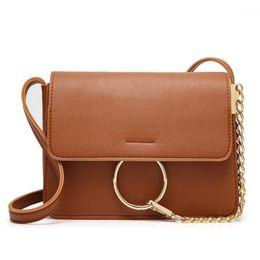 Chain Ring Shoulder Crossbody Bags For Women Vintage Nubuck Leather Bags Women Handbags Famous Brands Female Flap Bag Bolas