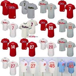 2017 Men's Philadelphia Phillies 14 Pete Rose 20 Mike Schmidt 27 Aaron Nola 7 Maikel Franco 45 Tug Mcgraw Flexbase Jerseys Stitched