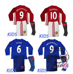 Wholesale 2016 Short sleeve MancHester soccer Jerseys home away UnITED Ibrahimovic POGBA kids football shirt