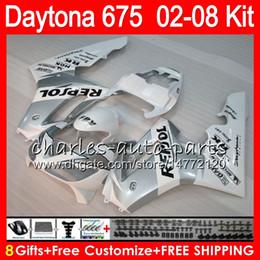 8 Gifts 23 Colors For Triumph Daytona 675 02 03 04 05 06 07 08 Daytona675 4HM24 white Daytona 675 2002 2003 2004 2005 2006 2007 2008 Fairing