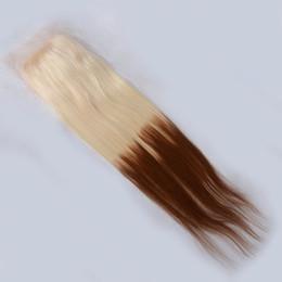 Brésilien 7A Beauté Beauté Homme Deux Tone Droite 4x4 Lace Clôture Trois Moyen Libre Pièces 6-22 Pouces De Sunny Grace Avec Baby Cheveux à partir de 12 pouces cheveux humains deux tons fabricateur