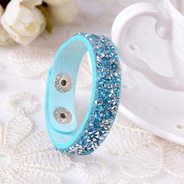 Multi row diamond leather bracelets All-match Fashion Bracelet New Bohemia hand woven Bracelet DIY woven Bracelet free shipping