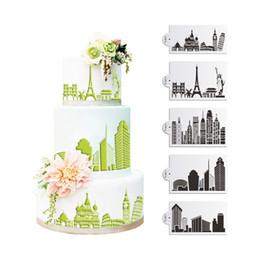 5pcs Hot Sale Landmark Pisa Stencil Set Wedding Cake Stencil Eiffel Fondant Cake Decorating Tools Birthday Cake Mold Kitchenware ST-865