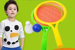Descuento juguete de la raqueta de tenis La venta de raqueta de tenis de plástico para niños establece el padre - niño deportes raquetas de bádminton bebé bola juguetes al por mayor