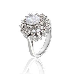 Romantic Rose Gold Plated Zircon Rhinestone Ring Gemstone Jewelry Crystal Zircon Ring Jewelry For Women ZR093