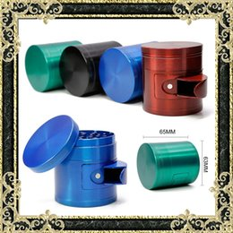 Wholesale Newest Herb Grinders mm Tobacco Grinder With Trash Bin Layers Zinc Alloy Material Colors Available
