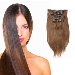 Women Fashion Brazilian Remy Human Hair Extensions 10pcs set 22clips Straight Clip In On Human Hair Extensions #1 Black #613 Blonde Optional