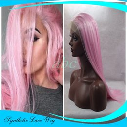 Promotion 18 pouces perruque synthétique droite Perruque naturelle longue droite en dentelle synthétique résistant à la chaleur Long perruques de cheveux roses roses (24 pouces)