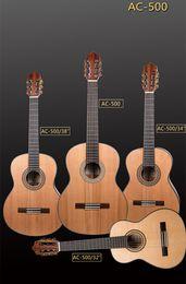 2017 guitarra acústica de nylon Venta al por mayor- 2017 guitarra acústica clásica AC-500 de la guitarra acústica clásica de New + Factory + Avila AC-500 cuerdas de nylon hechas a mano de la guitarra acústica clásica superior del cedro (4 tamaños) guitarra acústica de nylon promoción