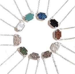 Wholesale Hot Fashion Kendra Scott Druzy Necklace Various Colors silver Plated Geometry Stone Necklaces Best for women High quality
