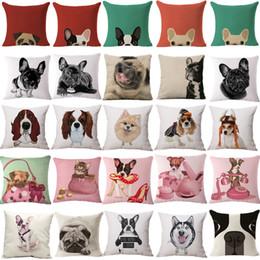 Wholesale Animal French Bulldog Cushion Cover Pug Dog Pillowcase Woven Cushion Cover Cotton Linen Car Euro Pillow Covers Decorative