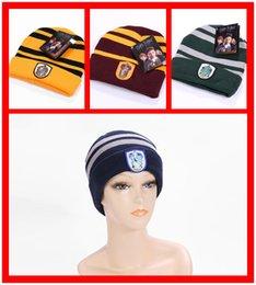 Wholesale XMAS Hats Gift Harry Potter Beanie Skull Caps Slytherin Hufflepuff Gryffindor Ravencla Knit Hats Cosplay Caps School Striped Badge