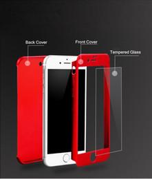 Descuento iphone vidrio de alta calidad Ultrafina híbrido de 360 grados de cuerpo completo funda protectora de la caja con el protector de la pantalla de vidrio templado para el iPhone de Apple 6 6S 7 más de alta calidad