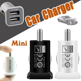 USAMS Double USB Dual Car Charger 5V 3.1A 3100mha Dual 2 Port Car Chargers For iPhone XS Plus X 8 7 iPad Samsung Galaxy Note 9 S9 S8 Huawei