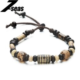 Wholesale Fashion Vintage Men s Retro Hand Painted Ceramic Bracelets Clay Beaded Lanyard Hand woven Strand Man Bracelet Bangle Gift JM004B