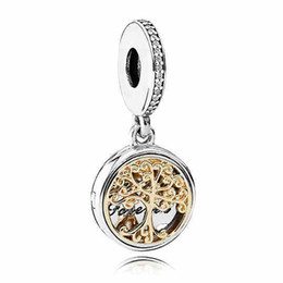 Wholesale Authentic Sterling Silver Bead Charm Gold Family Roots two tone locket Pendant Bead Fit Women Pandora Bracelet Bangle Diy Jewelry HK3689