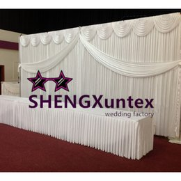 Hot Sale White Wedding Backdrop Curtain Include Top Swag And Middle Drape