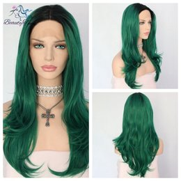 "100% Brand New High Quality Fashion Picture full lace wigs>> 24""Black To Green Natural Striaght Hand Tied Synthetic Lace Front Glueless Wig"