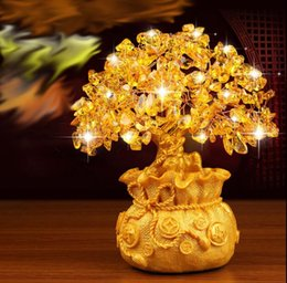Wholesale Natural topaz rich tree Household act the role ofing is tasted Corporate gifts home decorations Topaz shake money