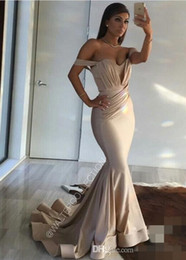 2017 New Sexy off shoulder Mermaid Prom Dresses Arabic Elegant Custom Made Sweep Train Long Dresses Evening Wear Plus Size