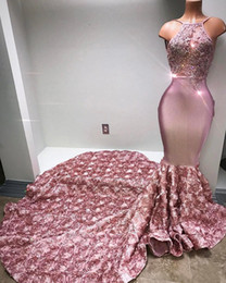 Blush Pink Mermaid Prom Dresses Halter Neck with 3D Floral Flowers with Beads See Through Vestido De Soiree Long Evening Party Gowns BA6129