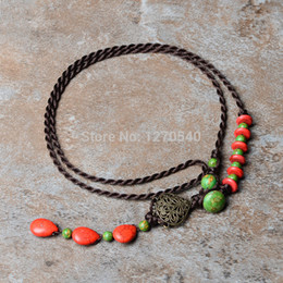 Wholesale red beans Turquoise green stones thailand jewelry ethnic necklace New traditional Jewelry Chinese Wind vintage necklace