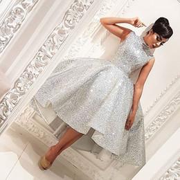 Sexy Silver High Collar Sleeveless Bling Bling Short Front Long Back Cheap Arabic Prom Dresses