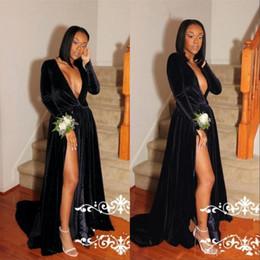 2018 Black Sexy Evening Dresses Long Sleeves Floor Length Velvet High Split Deep V Neck Celebrity Dresses Prom Dress Party Gowns BA7452