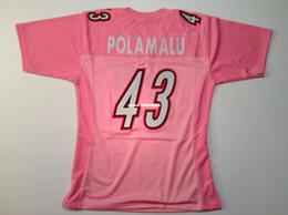 2017 camisetas de fútbol de color rosa Retro barato personalizado # 43 Troy Polamalu rosa jersey de retroceso jerseys de fútbol camisetas de fútbol de color rosa oferta