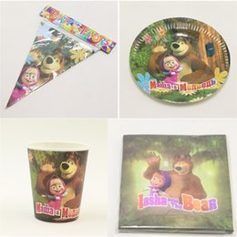 Wholesale paper plate cup napkin banner cartoon masha bear people use kids birthday party decoration festival supplies favor