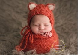 Baby fox mohair hat with wrap photo prop Newborn knit stretch wrap photography prop Animal handmade hat prop