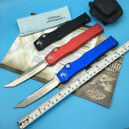 Wholesale Microtech HALO V Tanto HRC ELMAX quot Three Color Blade Single action CNC Aluminum Handle Auto Tactical outdoor gear knife knives