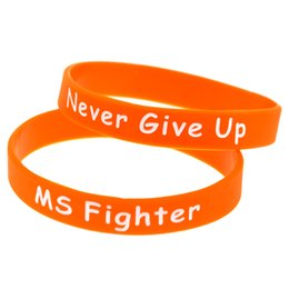 Wholesale Shipping 100PCS Lot MS Fighter Never Give Up Silicon Bracelet Motivational Wristband, Perfect To Use In Any Benefits Gift