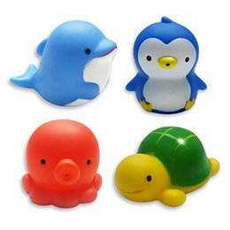 """""""Bath Time!"""" Funny Floating Baby Bath Toys Sea Animals with Mesh Bag Environmental Protection Material Toys For Baby Kids 4pcs Follow-003"""