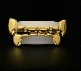 Wholesale REAL SHINY REAL GOLD PLATED HIPHOP TEETH GRILLZ TOP BOTTOM GRILL SET