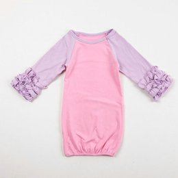 Wholesale Solid Color Infant Girl Gowns Ruffle Cotton Reglan Gown Long Sleeves Colourful clothes for Months