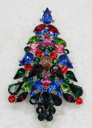 12pcs lot Wholesale Multicolour Drop Marquise Crystal Rhinestone Christmas tree Pin Brooch Christmas gifts Jewelry Brooches pin C552