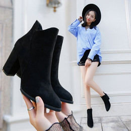 women shoes 2017 autumn and winter new suede frosted boots British wind thick with waterproof side of the zipper high-heeled Martin boots