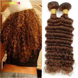 24 profonds faisceaux de cheveux bouclés à vendre-Brown cheveux bouclés bouclés profondes 3pcs / lot Malaysian Virgin cheveux bouclés Weave Bundles extensions de cheveux humains brun foncé # 4 Prix de gros
