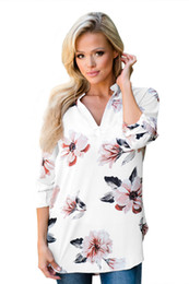 Women's Autumn Casual 3 4 Sleeve V Neck Floral Print High Low Chiffon Blouse T Shirt Tunic Loose Top