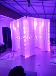 Meilleures lumières de led photo en Ligne-Haute qualité Meilleur éclairage LED gonflable Cabine photo portable avec 2 portes côte à côte pour mariage / fête / événement