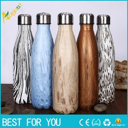 Wholesale 500ml Stainless Steel bottle Bowling sport drinking Water Bottle Vacuum Bottle Coffee Cup Wood Grain Cup as christmas gift