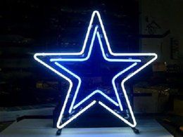 Promotion panneaux de cowboy Dallas COWBOYS STAR Football américain HANDMADE REAL GLASS TUBE NEON LIGHT BEER BAR PUB CLUB DISPLAY SIGN