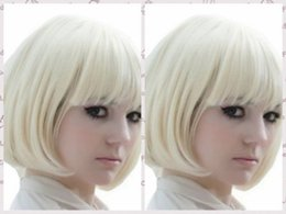 100% Brand New High Quality Fashion Picture full lace wigs>Women Short Straight Bobo Light Blonde Wig Cosplay Anime Party Costume Wigs