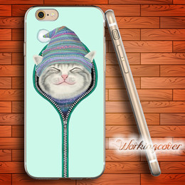 Fundas Cat in Hoodie Soft Clear TPU Case for iPhone 6 6S 7 Plus 5S SE 5 5C 4S 4 Case Silicone Cover.
