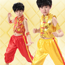 3pcs2color traditional national child martial arts costume vest trousers practice suit embroidery sequins dragon boy girl stage performance2