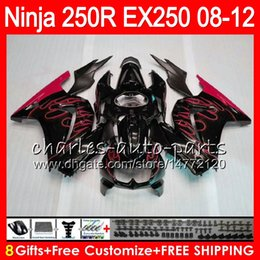 8Gifts 23Colors For KAWASAKI NINJA ZX250R 08 09 10 11 12 EX 250 TOP red flames 16HM70 ZX-250R ZX 250R EX250 2008 2009 2010 2011 2012 Fairing
