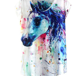 Скидка окрашенная лошадь Оптово-лето Картина тушью Лошадь шаблон печати Футболка Женская летняя одежда 2016 года Круглый воротник женщин футболки Топы женские рубашки