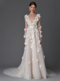 3D floral aplliques long sleeved princess summer wedding dresses 2017 Marchesa bridal v neckline chaple train a-line wedding gowns