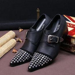 Promotion chaussures robe de moine Designer Luxe Hommes Noir Monk Chaussures Habillées Mode Rhinestone Cuir Boucle Sangle Chaussures plates pour les hommes Leisure Chaussures Taille 38-46